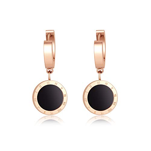 CRARINE Hoop Dangling Earrings for Women Rose Gold Black Acrylic Hoop Drop Earring Carve Roman Numerals Round Circle Hoop Post ()