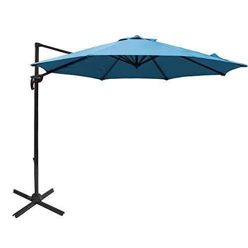 - Sundale Outdoor 10ft Sunbrella Fabric Offset Hanging Umbrella Market Patio Umbrella Aluminum Cantilever Pole with Crank Lift, Corss Frame, 360°Rotation, for Garden, Deck, Backyard (Sky Blue)