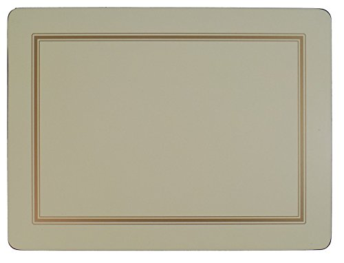 SET OF 6 CREAM GOLD BORDERED CLASSIC CORK BACKED PLACEMATS 30.5 X 23 X ()