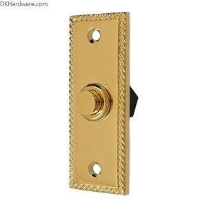 Solid Brass Rectangular Rope Bell Button (PVD)