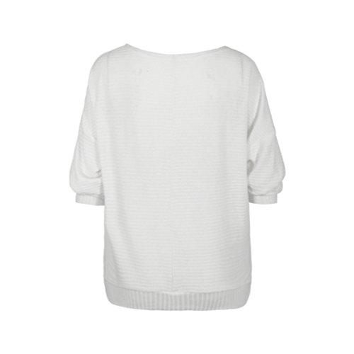 WanYang Mujer Batwing Manga Suelto Suéter Pull-over Casual Parte Blusa Pullover Tops Prendas de punto Blanco