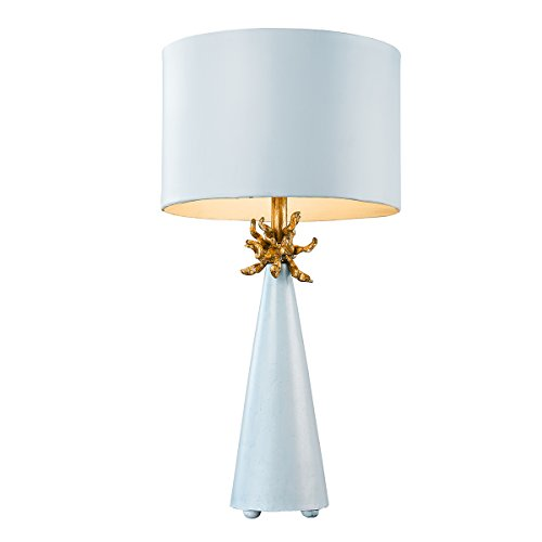 Flambeau Lighting TA1259 Neo Blue Table Lamp, Le Ciel Blue Cone with Gold Leafed Anemone and Lamp (Anemone Lamp)