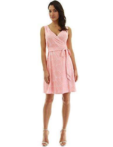 PattyBoutik Women V Neck Sleeveless Print Dress (Light Orange and White 30 X-Large)