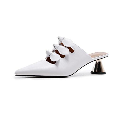 MEI&S Señaló la Mujer Tacones Toe Sandalias Al Tobillo. White