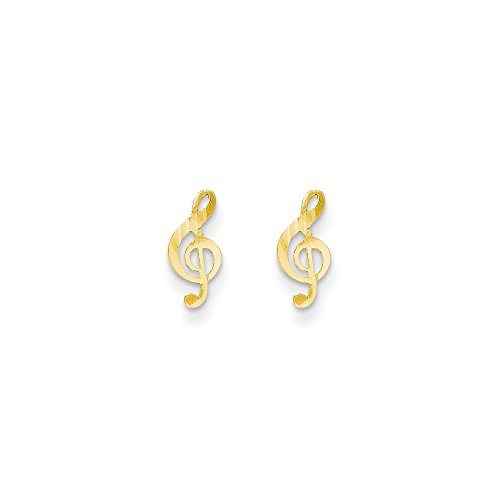 14k Solid Yellow Gold Madi K Polished Musical Note Post Earrings (10mm x (Solid Yellow Gold Musical Notes)