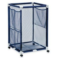 Modern Blue Pool Storage Bin - Large | Perfect Contemporary Nylon Mesh Basket Organizer For Your Goggles, Beach Balls, Floats, Swim Toys and Accessories | Air Dry Items Quickly & Easily Roll The Mesh