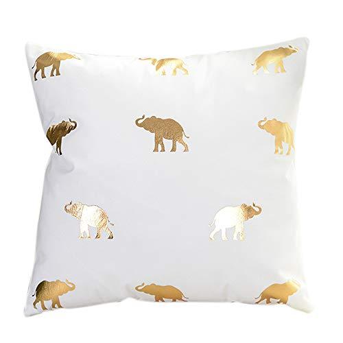 iCJJL Gold Foil Printing Pillow Case Sofa Waist Throw Cushion Cover Home Decor for Living Room Sofa Bedroom Car (Best Side Sleeper Mattress 2019)