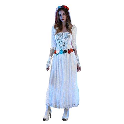 zahuihuiM Femmes Halloween Cadope Robes de Marie + Gants + Voile Nouveaut Solide Couleur Dentelle Manches Longues Cosplay Costume pour Club Party Blanc
