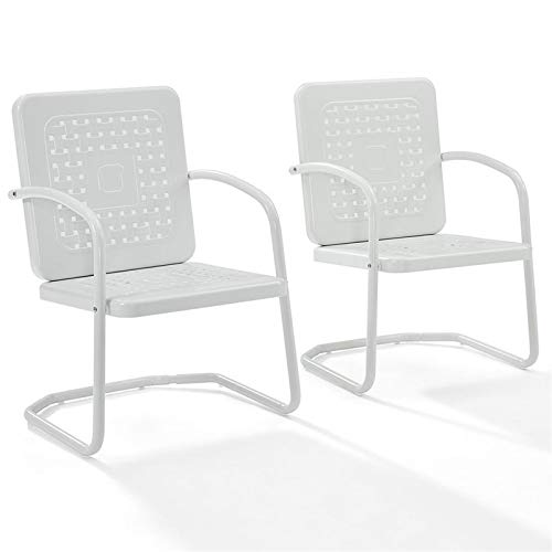 Crosley Furniture Bates Patio Chair in White (Set of 2)