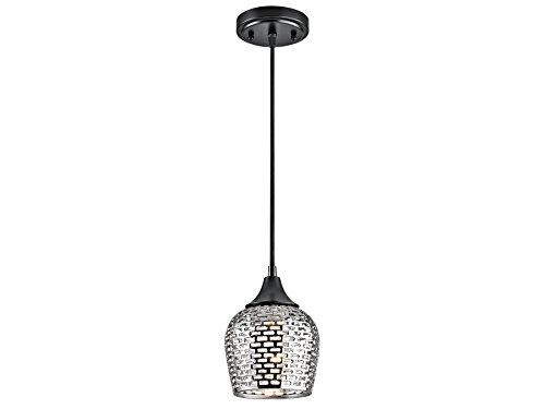 Kichler 43489BKSLV Annata 1-Light Mini-Pendant with Silver Ceramic, Black Finish