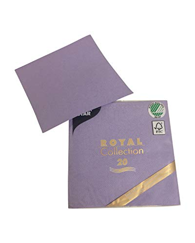 ke Paper Disposable Napkins | 20 Pack | Royal Collection | 1/4-Fold | Cocktail Size | 21 Color options (Lilac) ()