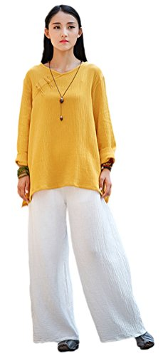 (Soojun Women's Retro Vintage Chinese Frog Button Tops Linen Shirts Blouses Yellow)