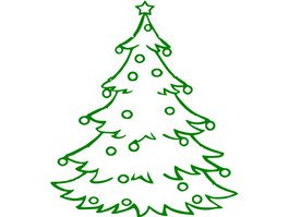 Christmas Tree Outline With Decoration Vinyl Sticker Wall Art Deco