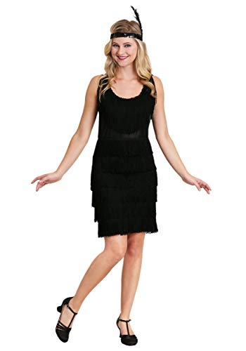 Black Fringe 1920's Flapper Costume Women's Flapper Dress Medium ()