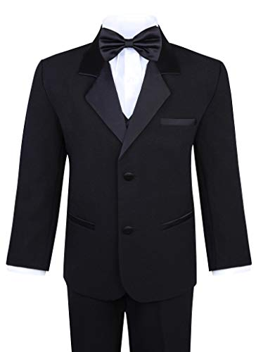 Boy's 5-Piece Tuxedo Set - Black (5, Black)