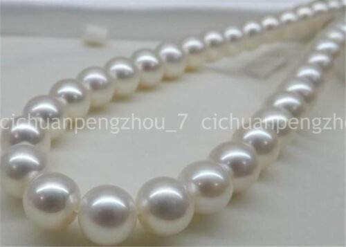 FidgetKute Natural 14mm White Sea South Shell Pearl Necklace AA Real Hand Knotted 18-35