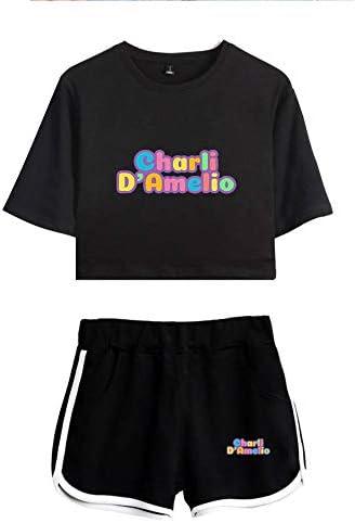 ZYPPX Dames Tiener Meisjes Charli Damelio Crop Top En Shorts TShirt Set Sportwear Trainingspak