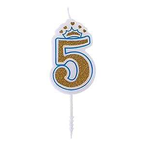 Yeioxiue - Velas de cumpleaños con Corona de Plata Brillante ...