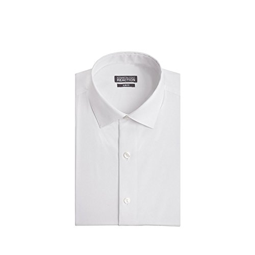 Kenneth Cole Men's Chambray Slim Fit Solid Spread Collar Dress Shirt, White, 17.5