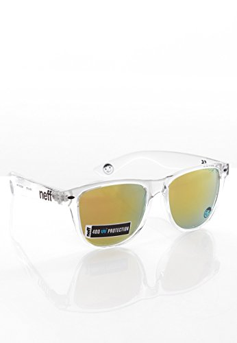 Neff Daily Sunglasses Clear with Gold Mirror - Wayfarer Sunglasses Neff