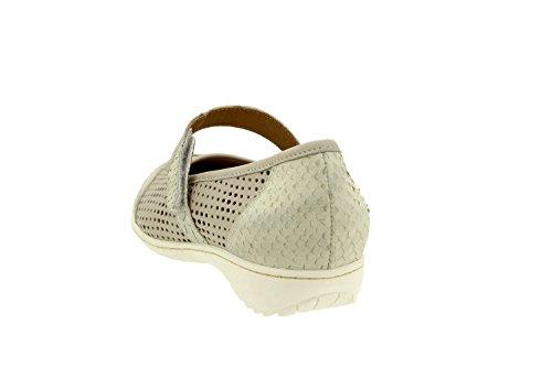 Calzado mujer confort de piel Piesanto 8756 zapato velcro plantilla extraíble cómodo ancho Perla