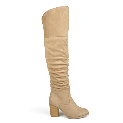 (Brinley Co. Womens Regular Wide Calf and Extra Wide Calf Ruched Stacked Heel Faux Suede Over-The-Knee Boots Stone, 8.5 Regular US)