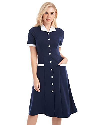Womens V Neck Casual Long Dress Short Sleeve Swing Midi Skater Dress Pockets Navy Blue ()