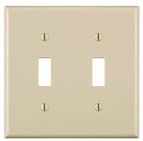 Leviton 80709-T Thermoplastic Nylon Device Mount Standard Size 2-Gang Wallplate (2) Toggle Switch Light Almond
