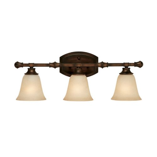 Capital Lighting 1333BB-287 Vanity with Mist Scavo Glass Shades, Burnished Bronze Finish (Cream Scavo Glass Shades)