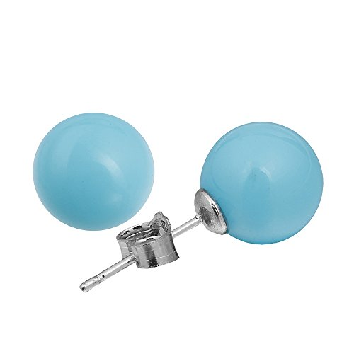 Lureme 10mm Baby Blue Shell Bead Silver Tone Classic Round Pearl Stud Earrings for Women Girls(er005428)]()