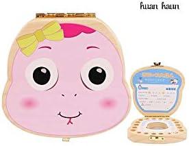 旅行用の葉巻の箱 子供のおもちゃ赤ちゃんの歯記念ボックス女の子の歯の家の赤ちゃんの歯は少年歯回収ボックス乳歯保存箱箱 プロ保湿ケース (Color : Pink)