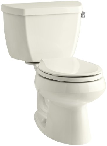 Wellworth Classic 1.28gpf Round-Front Toilet with Class Five Flushing Technology and Right-Hand Trip Lever, Biscuit (Wellworth Two Piece Toilet)