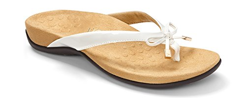 Vionic Women's Rest Bella II Toepost Sandal - Ladies Flip Flop with Concealed Orthotic Arch Support White 8 M US