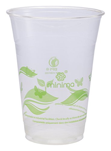 Minima 16 oz, 1,000 Count Compostable Cold Cups – 100% BPI-CERTIFIED Biodegradable & Compostable certified Drink Cups (Leaves Design) by Minima