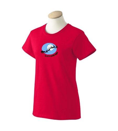 Custom Santa Claus in sleigh, To All A Good Night on ladies t-shirt, medium, - Sangria Santos