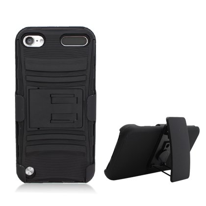iPod Touch 5th and 6th Generation Case, Heavy Duty 3 Piece Layer Combo Hybrid Holster Armor Hard Shell Exterior and Light Soft Silicone Rubber Interior Protector Cover by MEGATRONIC With Kickstand and Swivel Belt Clip - Black [With FREE Stylus Pen + Anti Scratch Clear LCD Screen Protector + Microfiber Cleaning (Ipod 5th Generation With Holster)