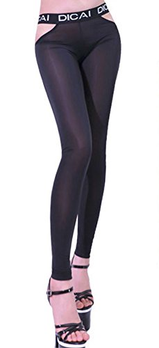 d1d73330980ad3 Zukzi Women's Sexy Low Rise See Through Leggings Stretch Sheer Leggings