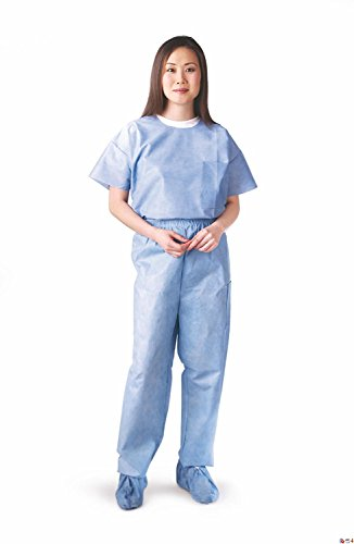Medline NON27213M Disposable Scrub Pants, Medium, Blue (Pack of 30)