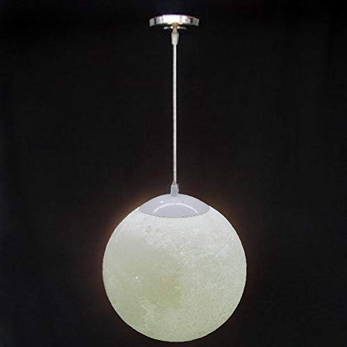 Diameter 9.8 inch Moon Pendant Lamp, 3D Printing Moon Ceiling Light with 9W LED Bulb 3000K Yellow E26 Bulb and 3000K White E26 Bulb