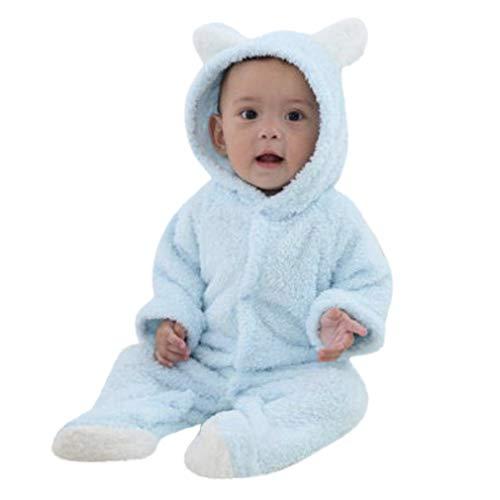 FEITONG Newborn Baby Boys Girls Cartoon Animal Warm Hooded Romper Jumpsuit Climbing Clothes(3-6M,Light Blue) -