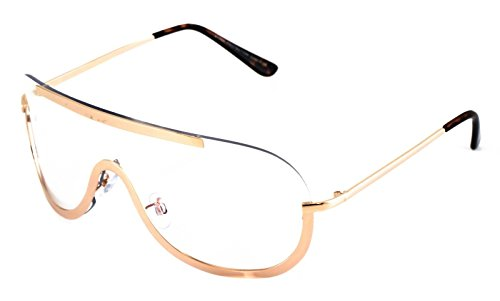OVERSIZED VINTAGE Retro Huge Big SHIELD Style Clear Lens EYE GLASSES Gold - Gold Frame Big