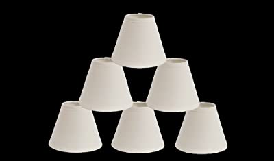 Urbanest 1100327c Mini Chandelier Lamp Shades 6-inch, Cotton, Hardback, Clip On, Eggshell (Set of 6)