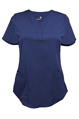 Natural Uniforms Women's Ultra Soft Stretch Drop-Neck Scrub Top (True Navy Blue, Medium)