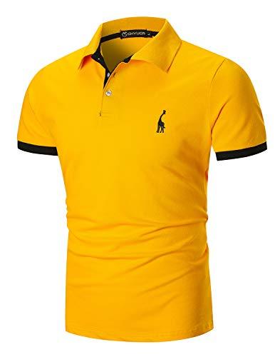 GHYUGR Mens Polo Shirts Short Sleeve Casual Giraffe Golf Tennis T-Shirt,Yellow,XXL