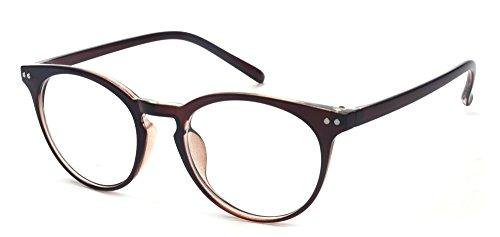 Outray Vintage Inspired Small Nails Round Clear Lens Glasses 2169c2 Brown (Vintage Horn Rimmed Glasses)