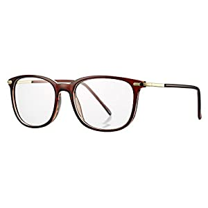 COASION Non-prescription Horn Rimmed Clear Lens Eye Glasses Frame Metal Temple OpticaL Eyewear (Brown, 52mm)
