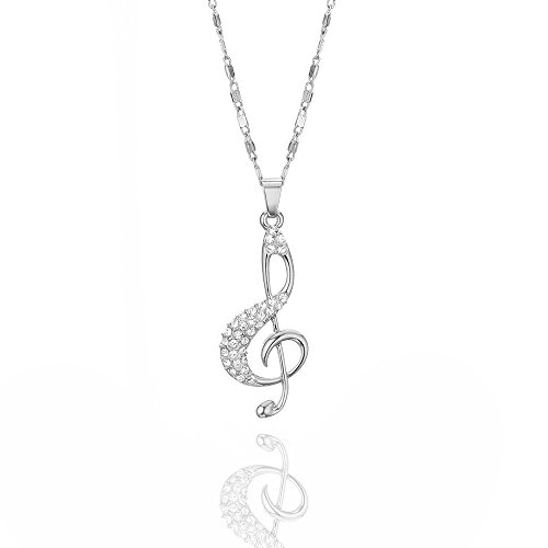 Fashion Crystal Music Note Pendant Necklace - Vacation Jewelry Gift (silver)