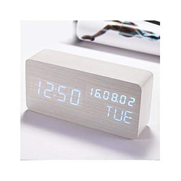 DEBEME Reloj de Alarma LED de Madera Temperatura Reloj electrónico Control de Sonidos Pantalla Digital LED Calendario de Escritorio Reloj de Mesa: ...