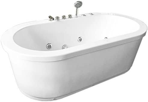 Whirlpool Freestanding Modern White Bathtub Double Pump 16 Nozzles Hot Tub Hydrotherapy RIO