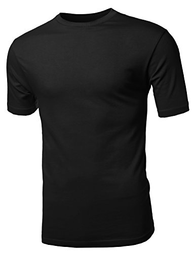 Youstar Men's Basic Solid Cotton Crew Neck Tee